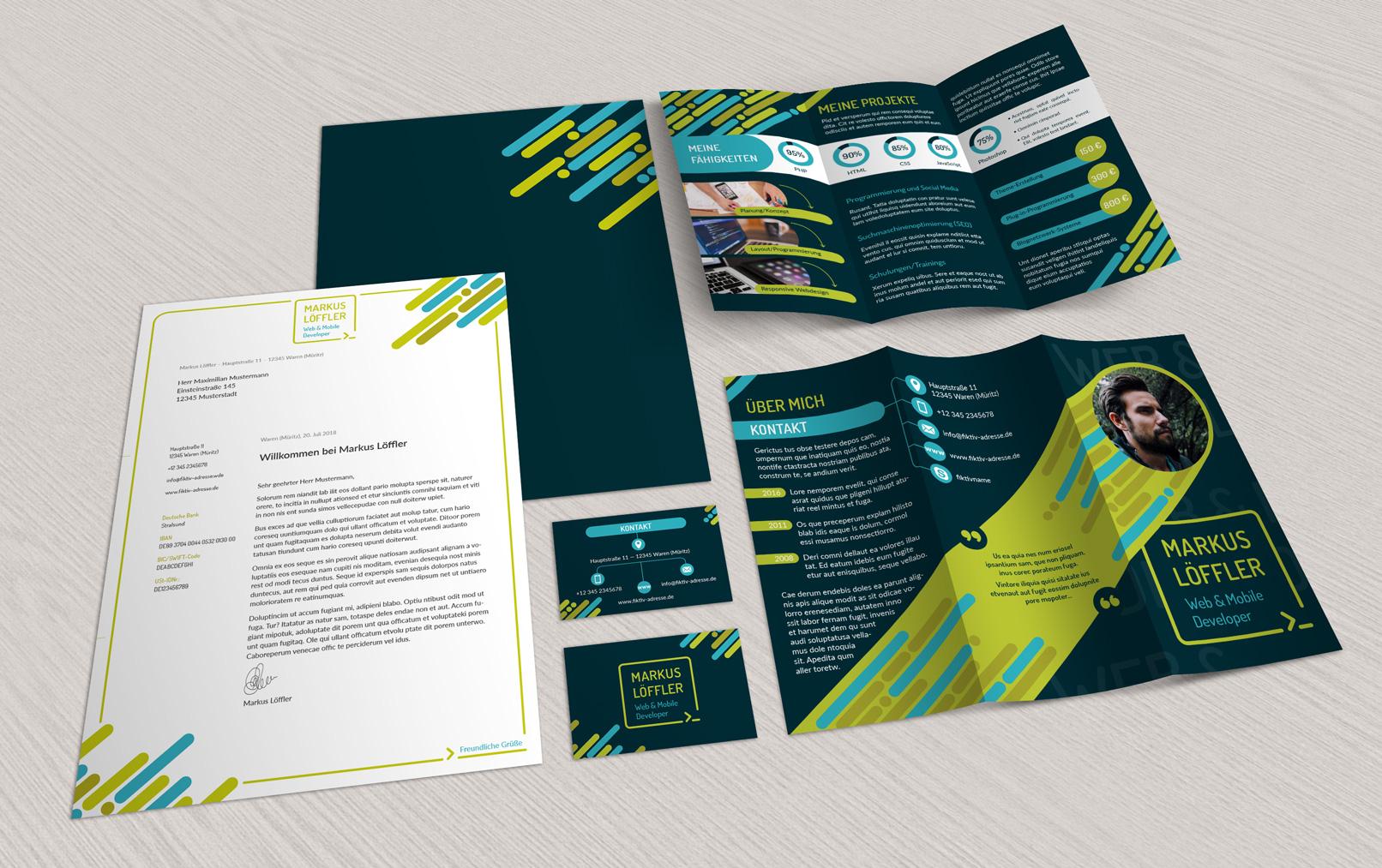 Klar, strukturiert und einheitlich kommunizieren mit dieser Geschäftsausstattung – mit Briefpapier, Flyer und Visitenkarten.