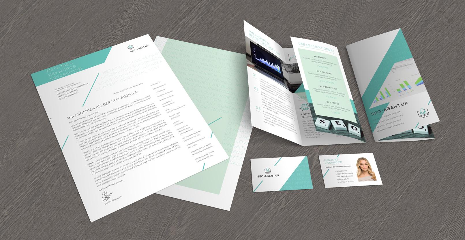 Vorlagen im Corporate Design für den Bereich Web und IT: Flyer, Briefpapier, Visitenkarten