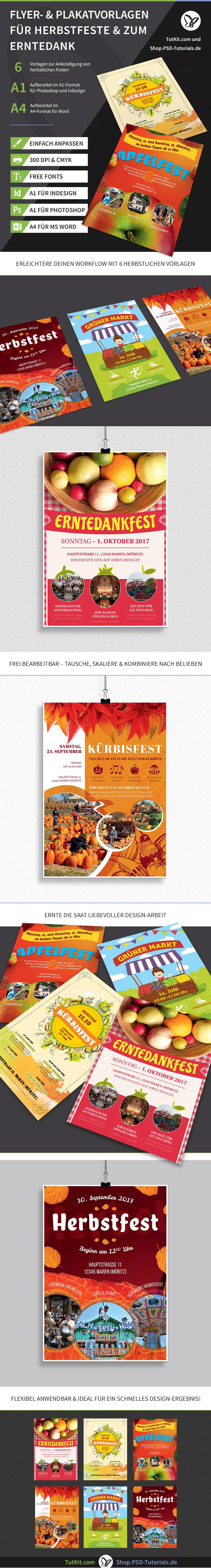 Überblick über die Vorlagen zur Gestaltung von Plakaten und Flyern für Herbstfeste