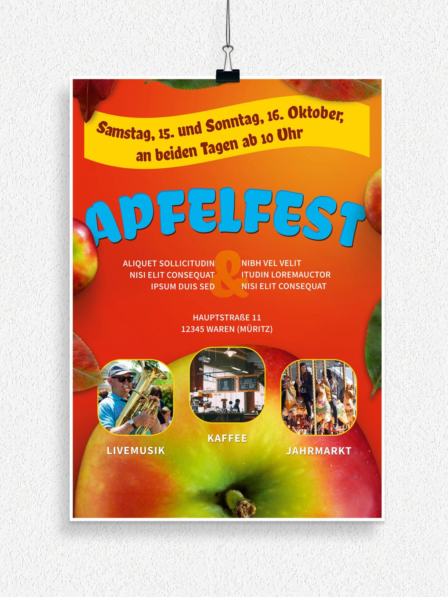 Poster, Flyer und Plakate fuer Herbstfeste und zum Erntedank