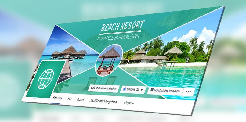 Facebook-Titelbild-Vorlage: Beispiel für Urlaub und Hotels