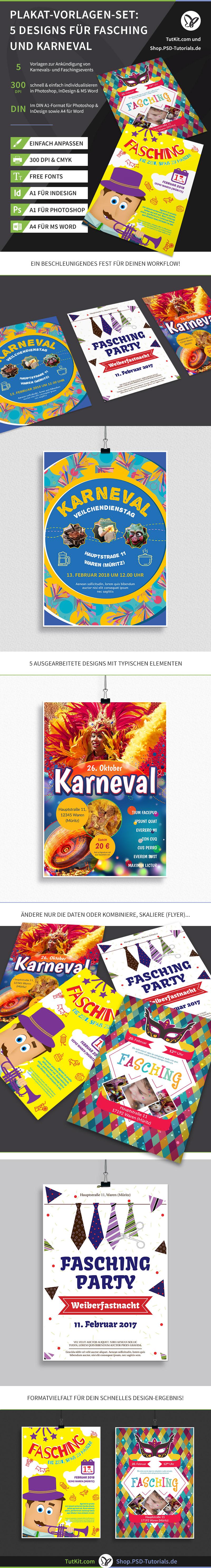 Überblick über die Plakat- und Flyer-Vorlagen für Karneval und Fasching