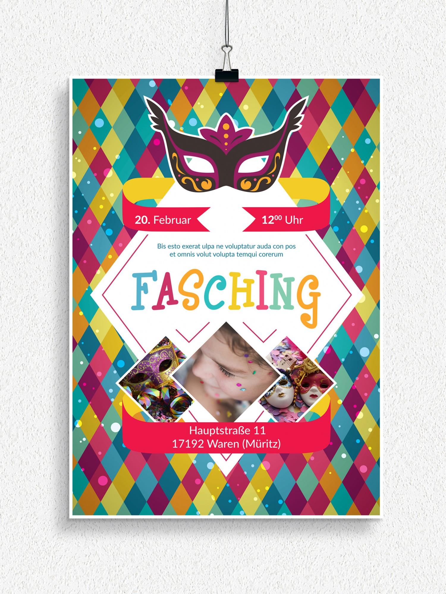 Poster, Flyer und Plakate fuer Karneval, Fasching und Fastnacht