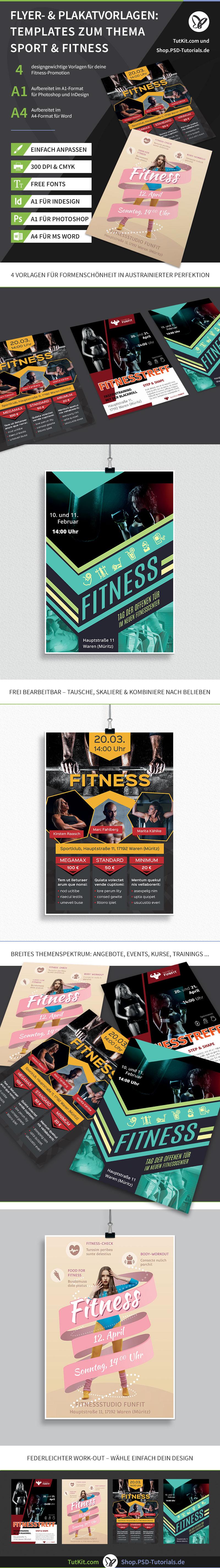 Vorlagen für Plakate und Flyer für den Bereich Sport, Fitness & Fitnessstudio