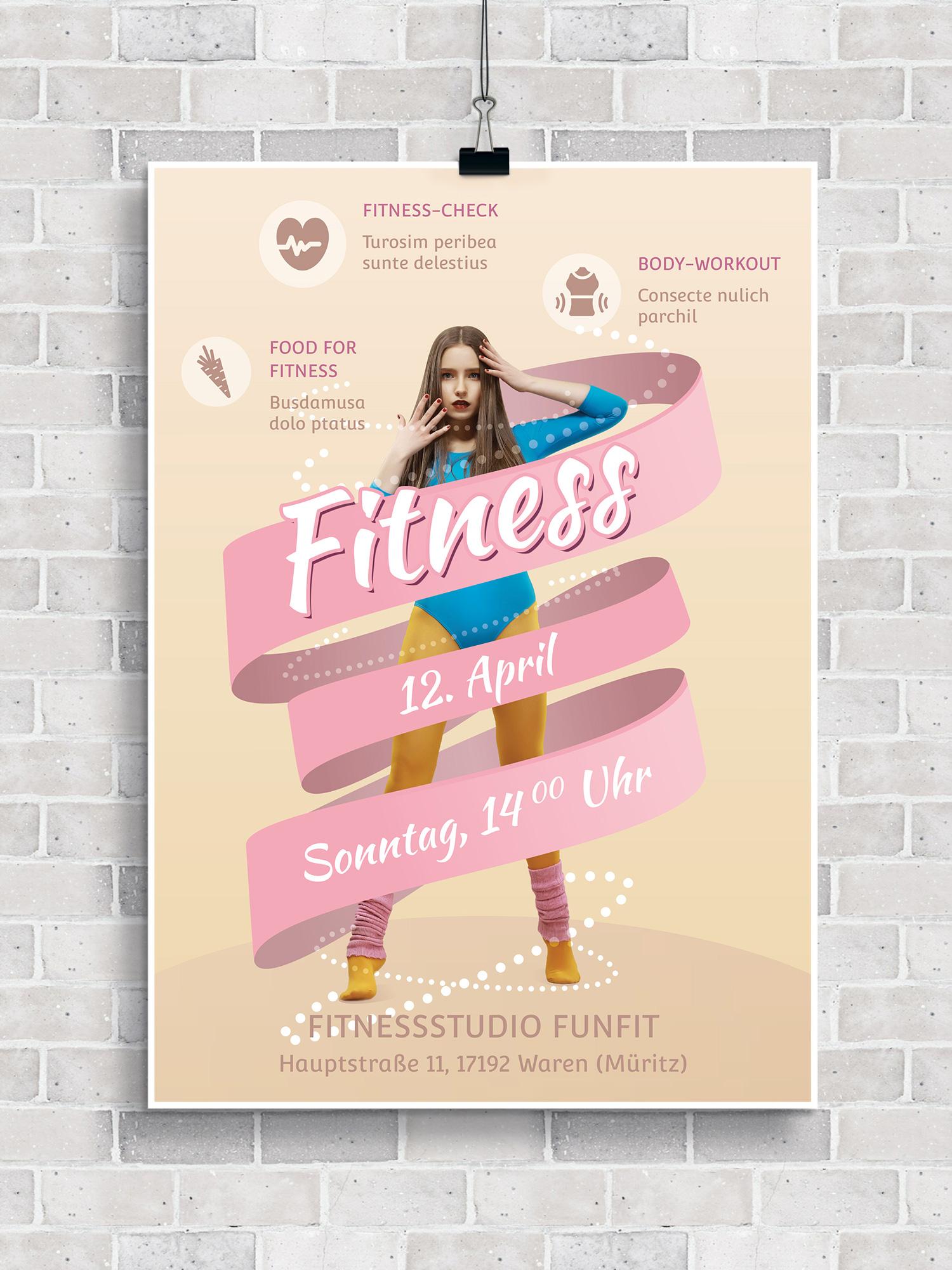 Die Vorlagen eignen sich zum Beispiel zur Ankündigung von Veranstaltungen in Fitnessstudios.