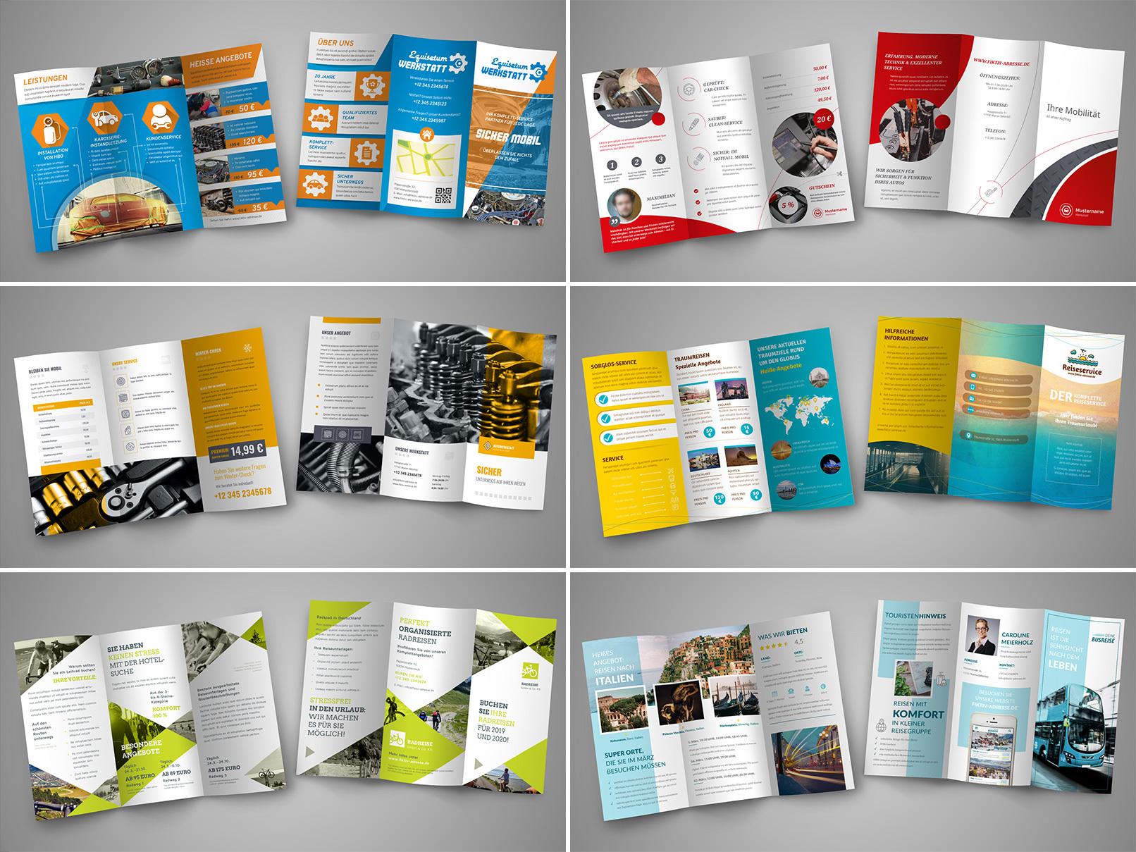 Verschiedene Flyer- und Folder-Vorlagen