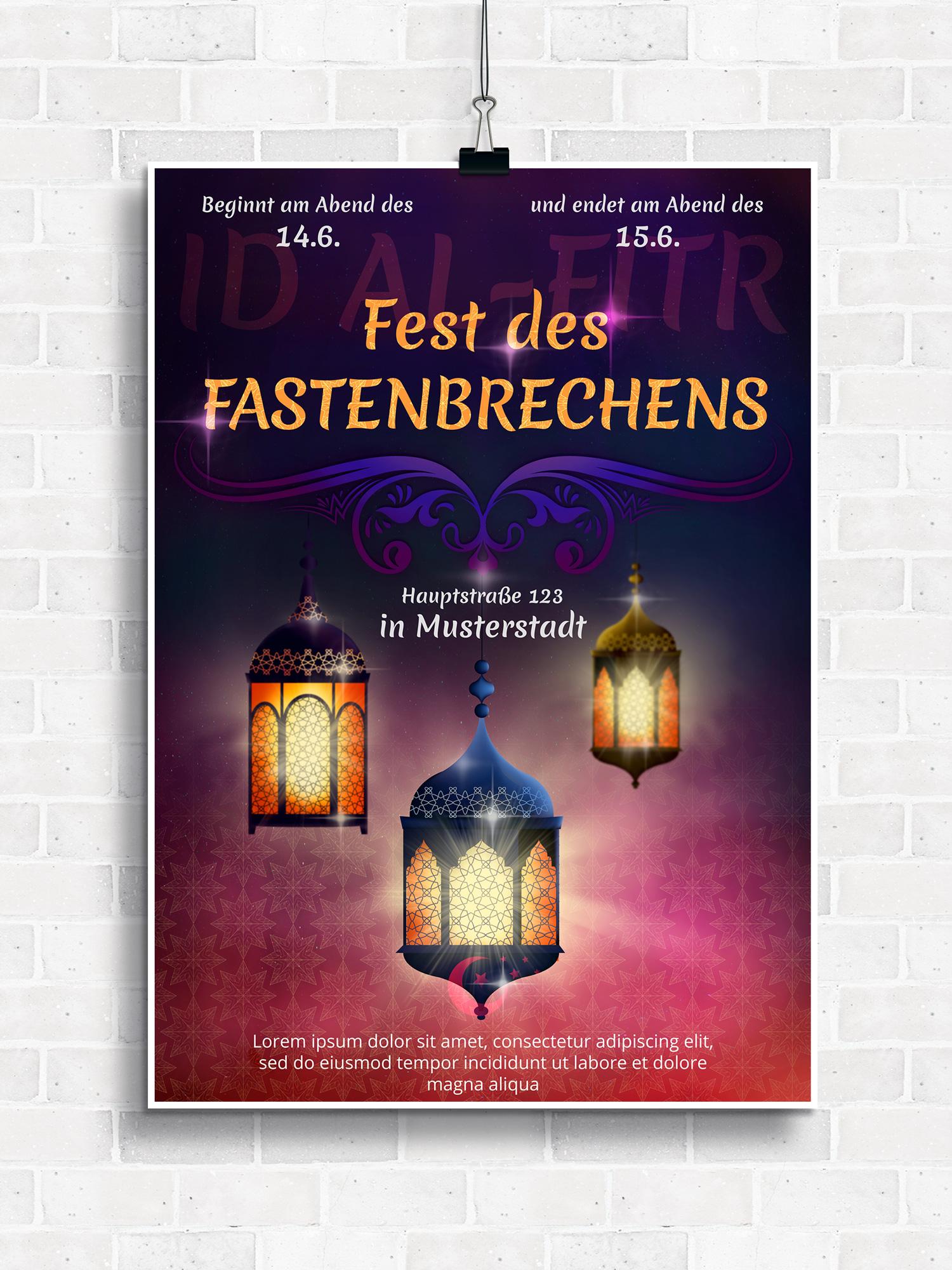 Plakat für Fest des Fastenbrechens
