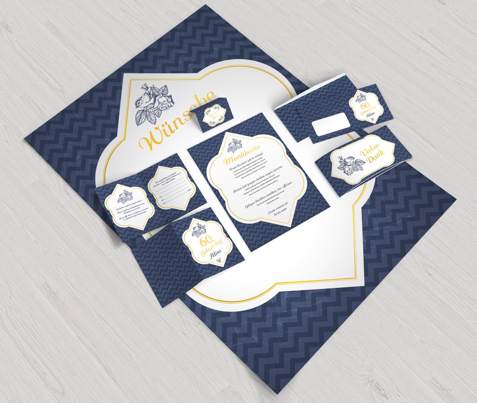 Vorlagen für Geburtstage und Taufe, inklusive  Briefumschlag, Dankeskarte, Einladung, Klappkarte, Menükarte und Wünsche-Plakat