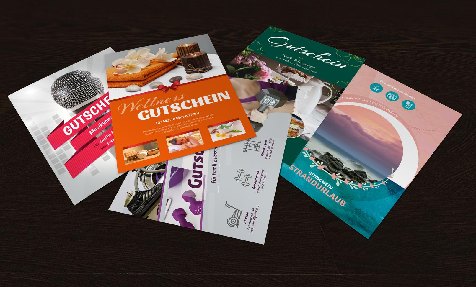 Vorlagen für Geschenk-Gutscheine zur Bearbeitung in Word und Photoshop, im DOCX- und PSD-Format
