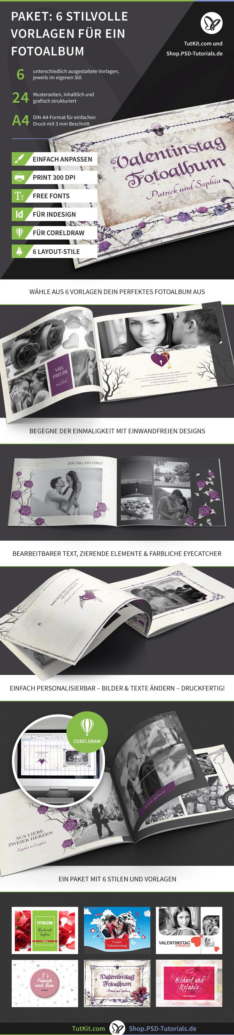 Darstellung von Beispielseiten eines Hochzeitsfotoalbums