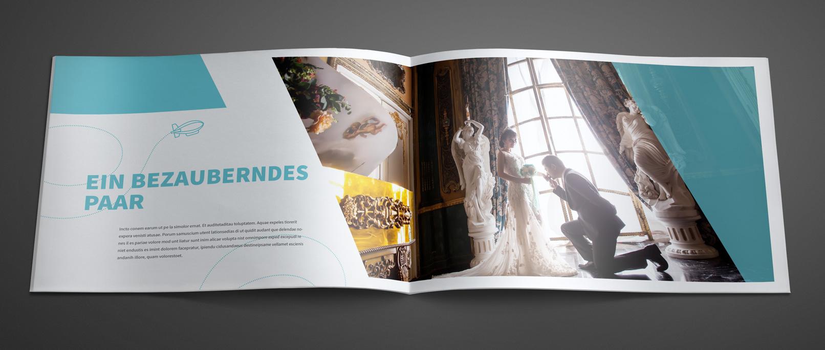 Vorlage für Hochzeitsfotoalbum im Querformat DIN A4