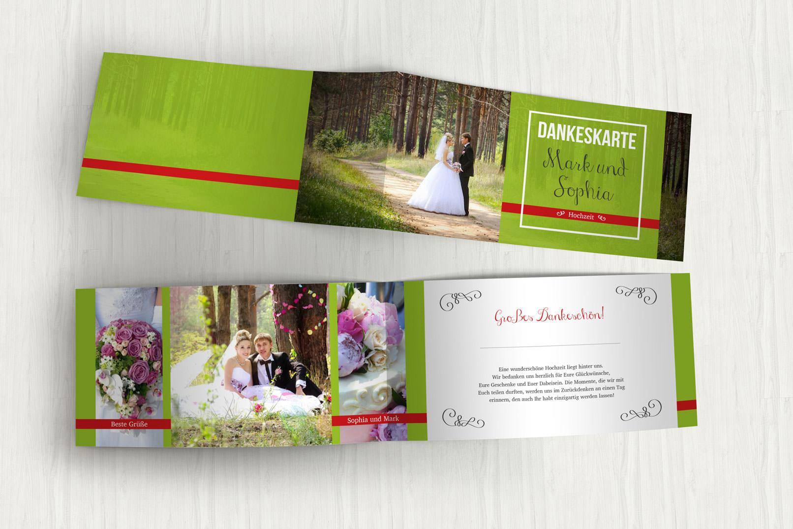 Vorlage für Dankeskarte zur Hochzeit