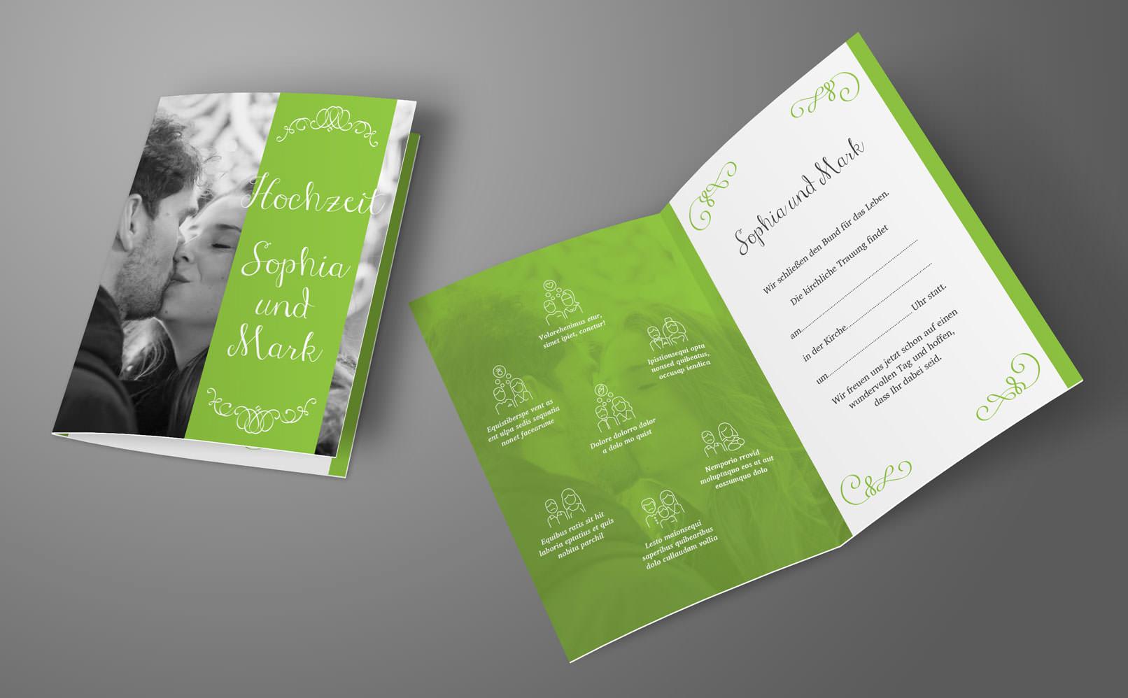 Vorlage für Einladungskarten zur Hochzeit