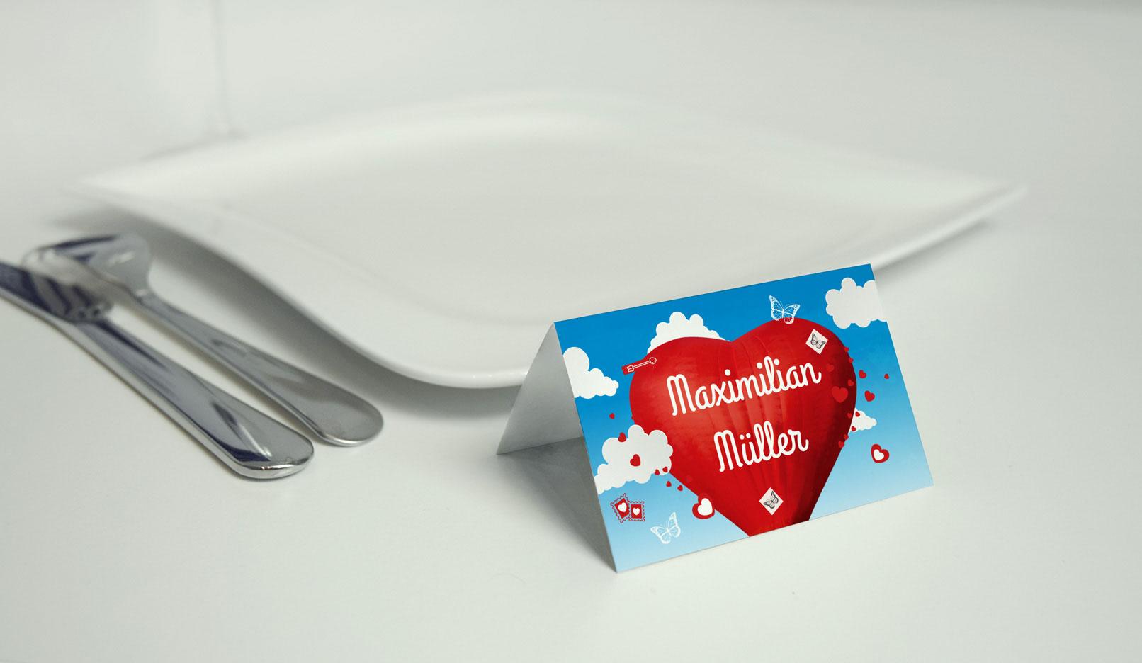 Vorlage für Tischkarte zur Hochzeit