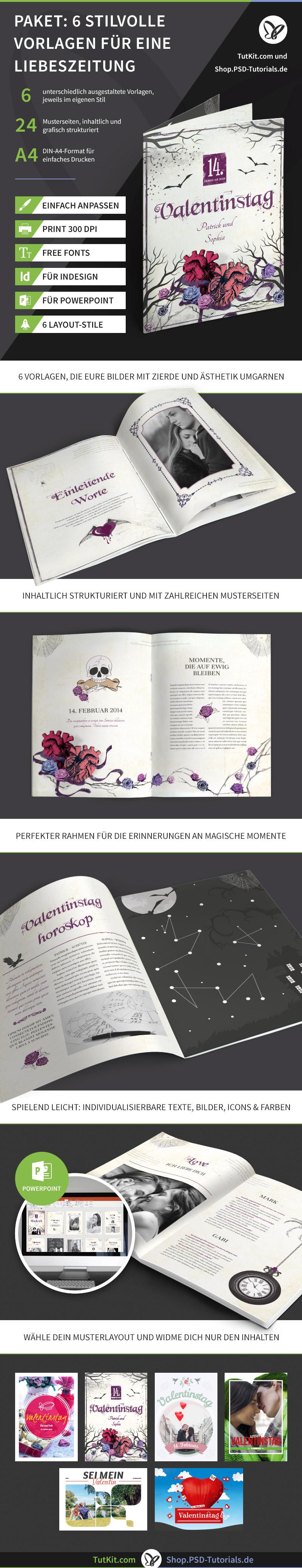 Überblick über das Set mit Vorlagen für Hochzeitszeitungen - Version 2