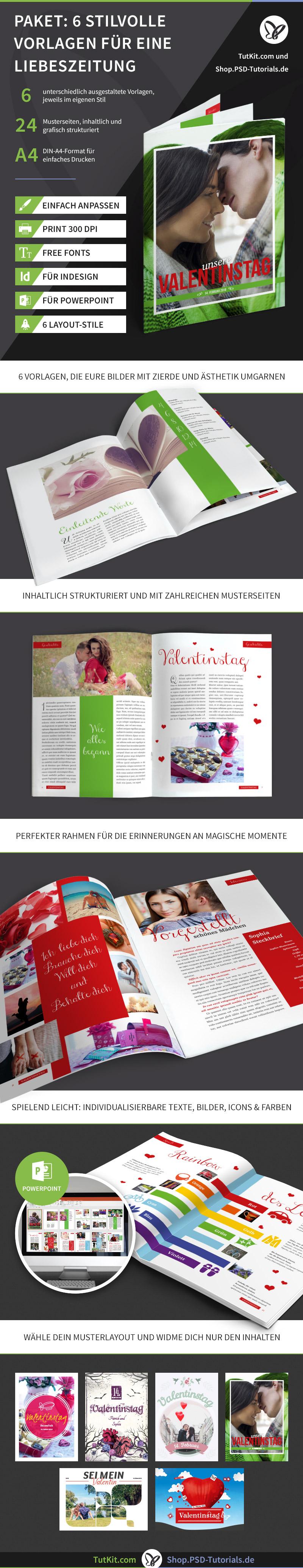 Überblick über das Set mit Vorlagen für Hochzeitszeitungen - Version 3