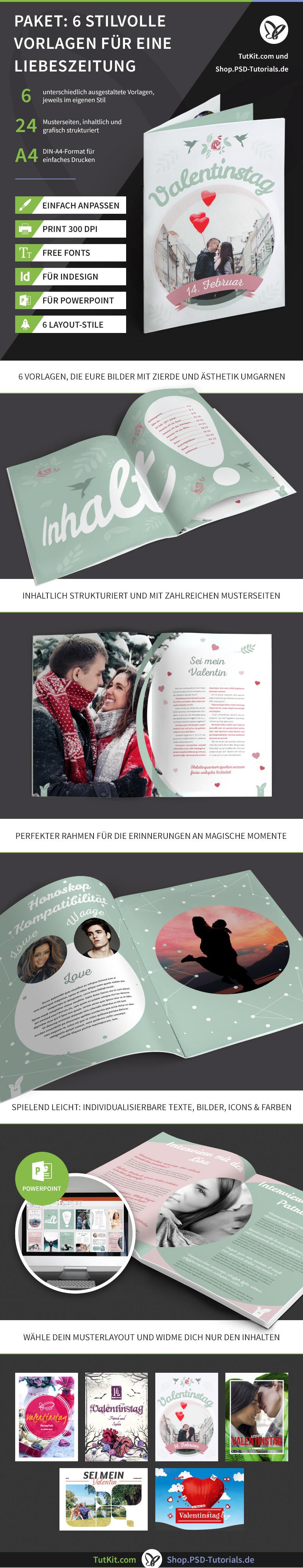 Überblick über das Set mit Vorlagen für Hochzeitszeitungen - Version 4