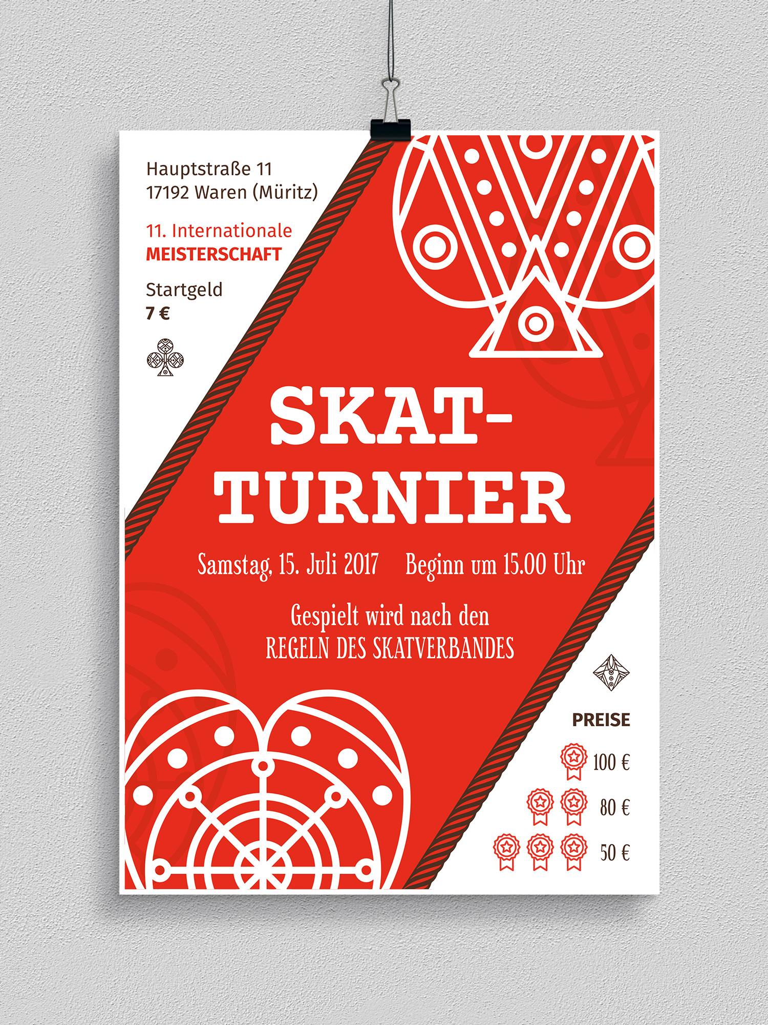 Poster, Flyer und Plakate fuer Kartenspiele, Skat- und Pokerturniere