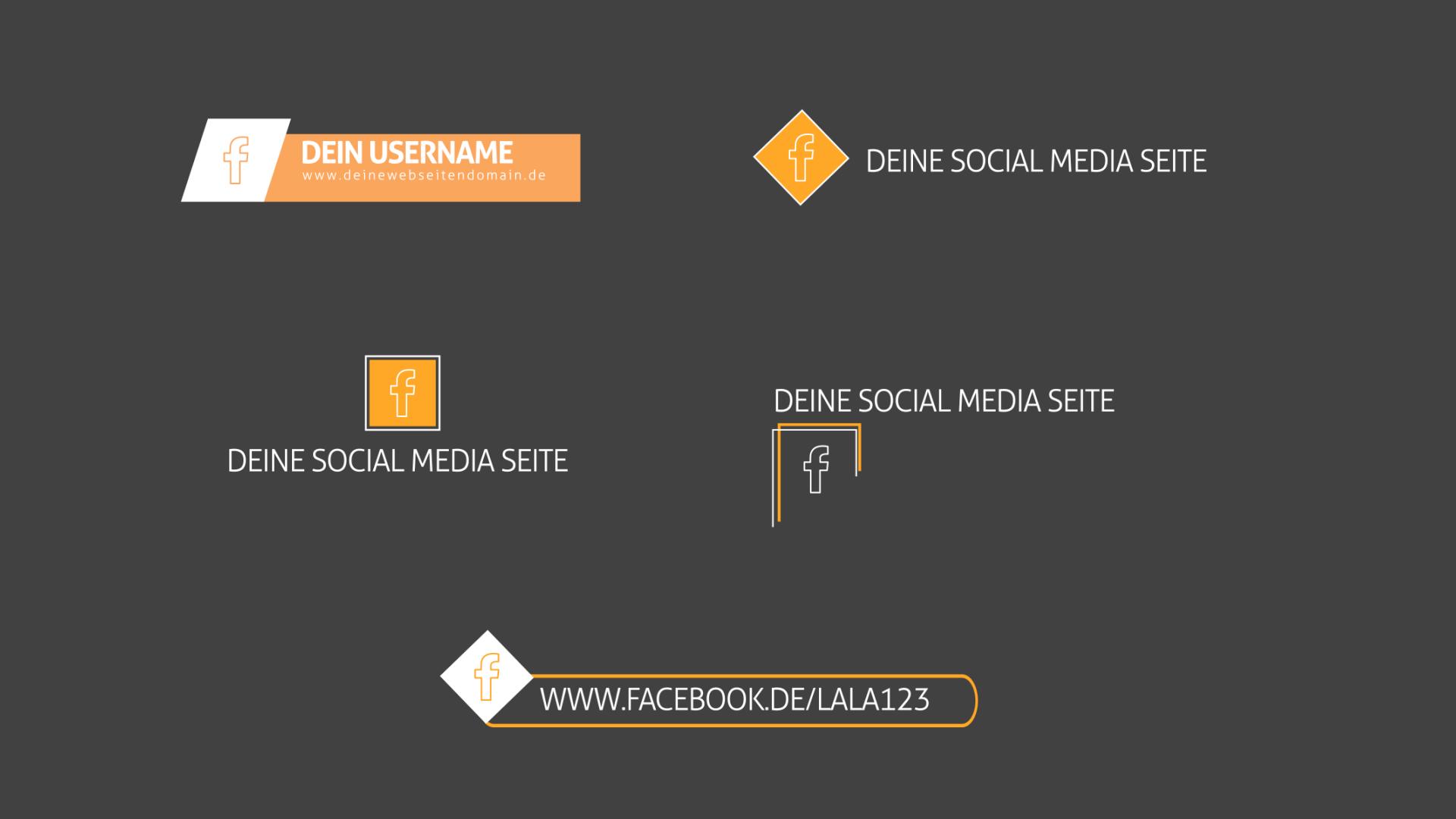 Abbildung von 5 Text-Animationen für Social-Media-Einblendungen, anwendbar in After Effects und Premiere Pro