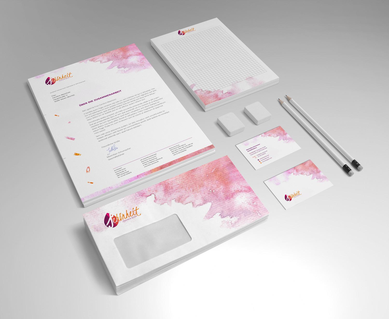 PSD-Mockup mit Briefpapier, Visitenkarte, Block