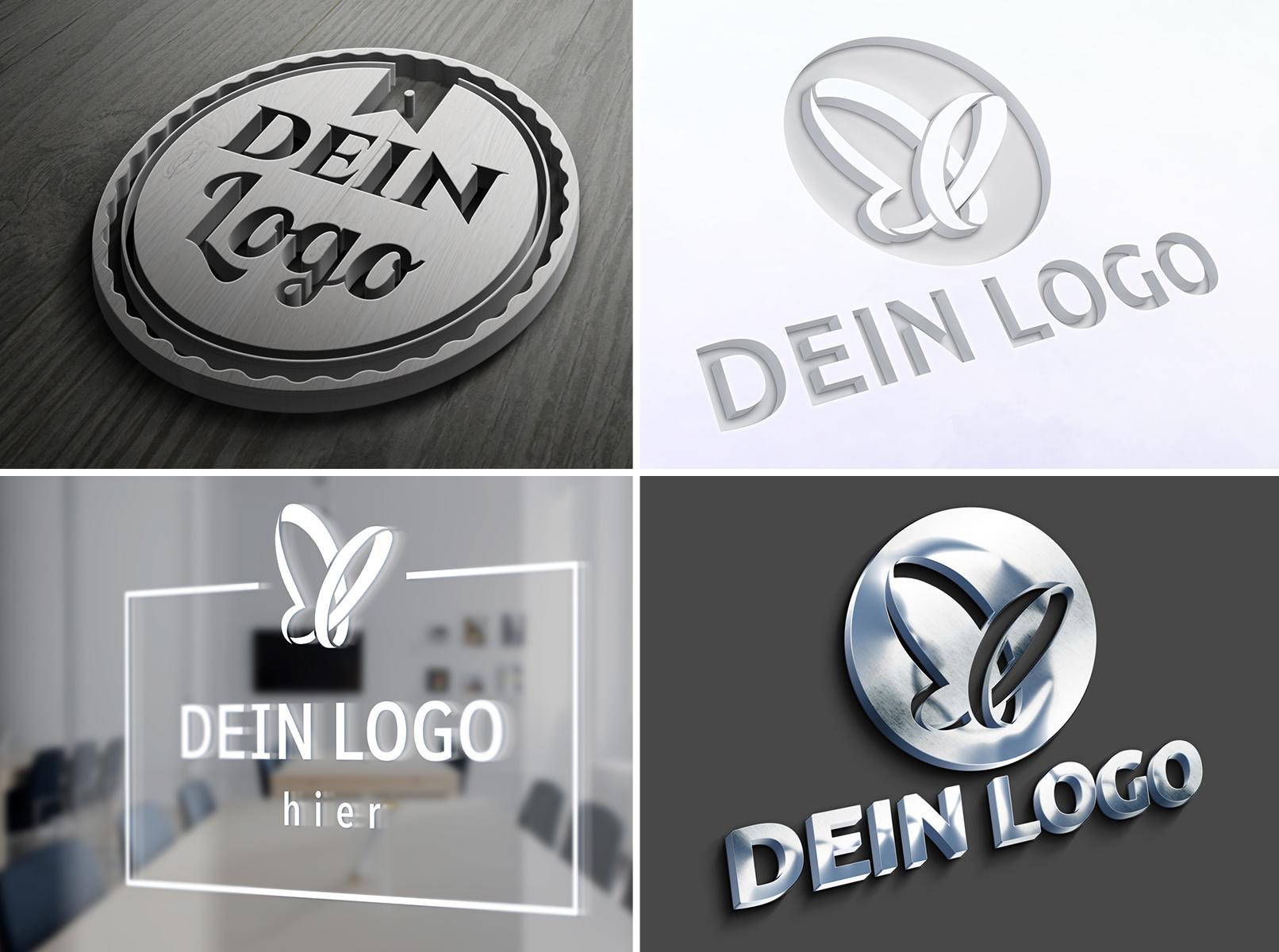 Logo auf Mockup angewandt, u. a. mit 3D-Effekt