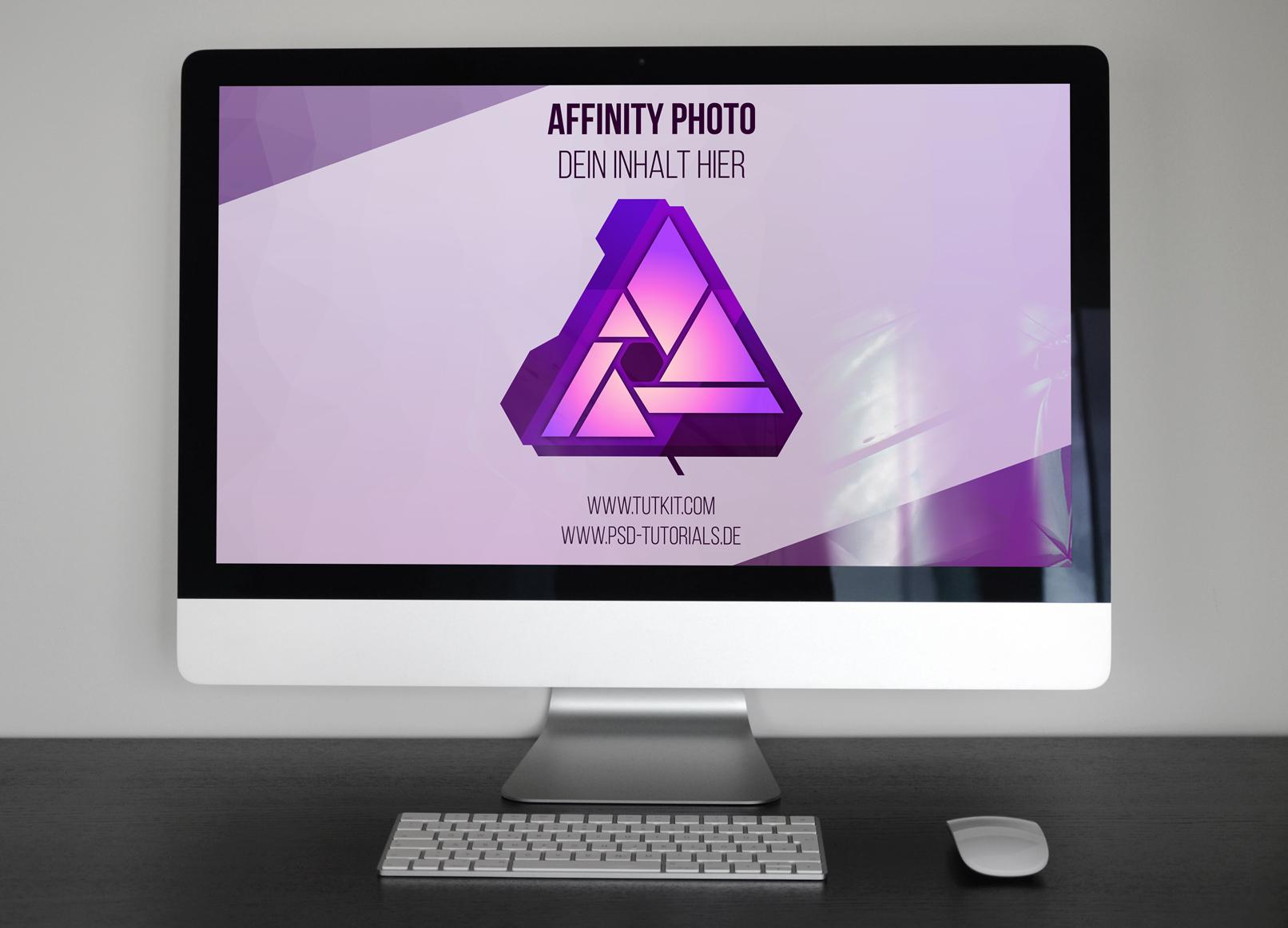 Mockup für Affinity Photo zur Darstellung eines Designs auf einem Rechner