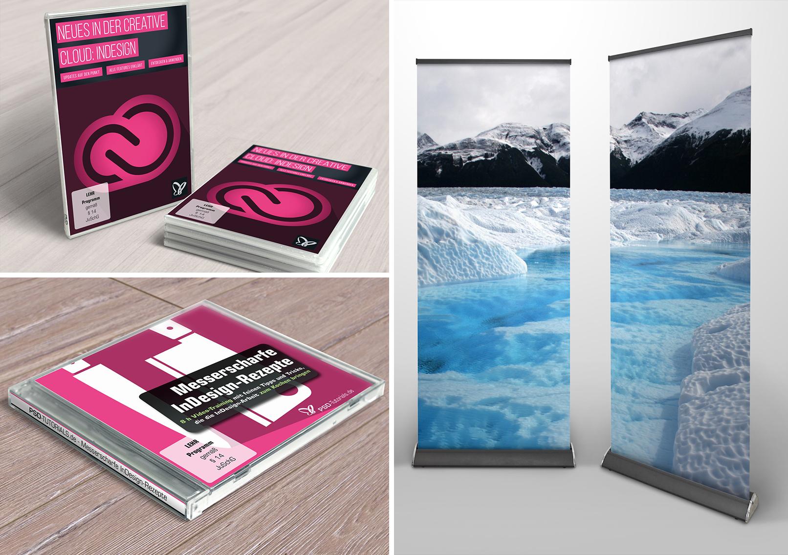 Affinity Photo Mockups für Bücher, CDs und Rollups