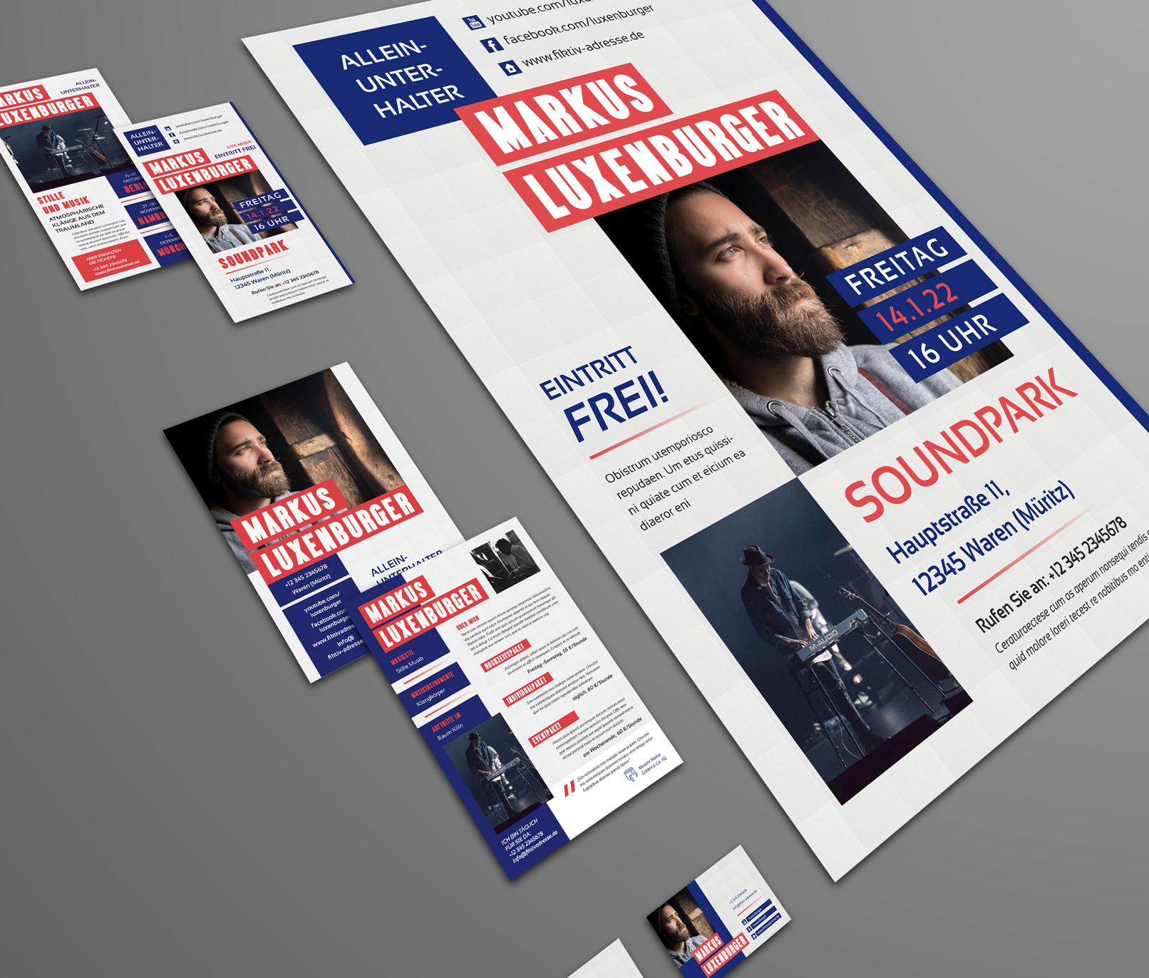 Design-Vorlagen für Musiker, Künstler, Alleinunterhalter, inklusive CD Cover, Poster und Visitenkarte.