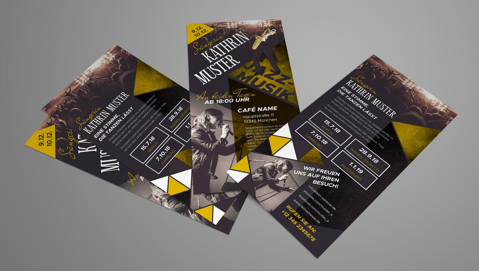 Flyer-Design zur Ankündigung von Konzerten und für Tour-Informationen
