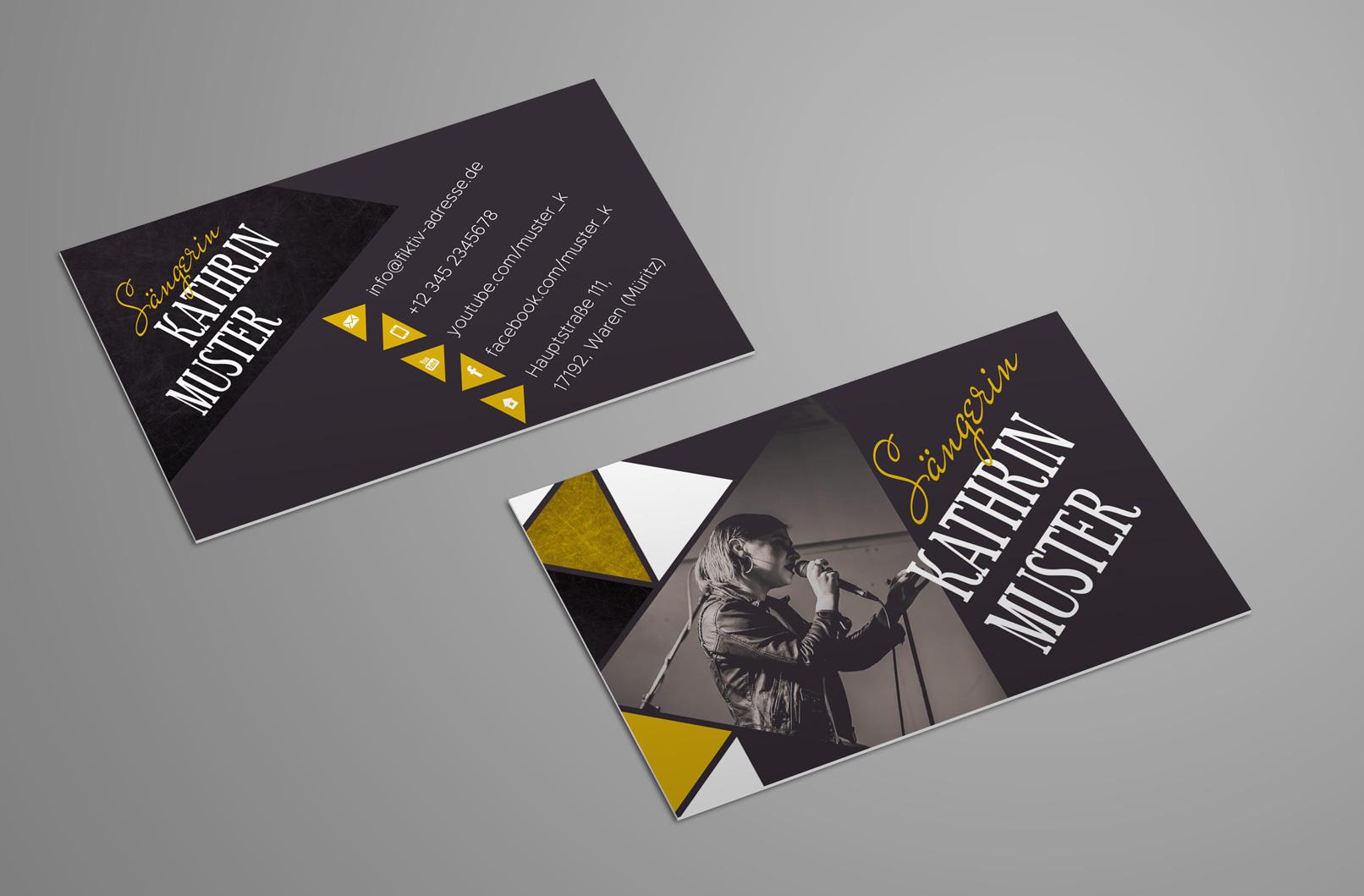 Vorlage für Visitenkarte für Musiker und Bands