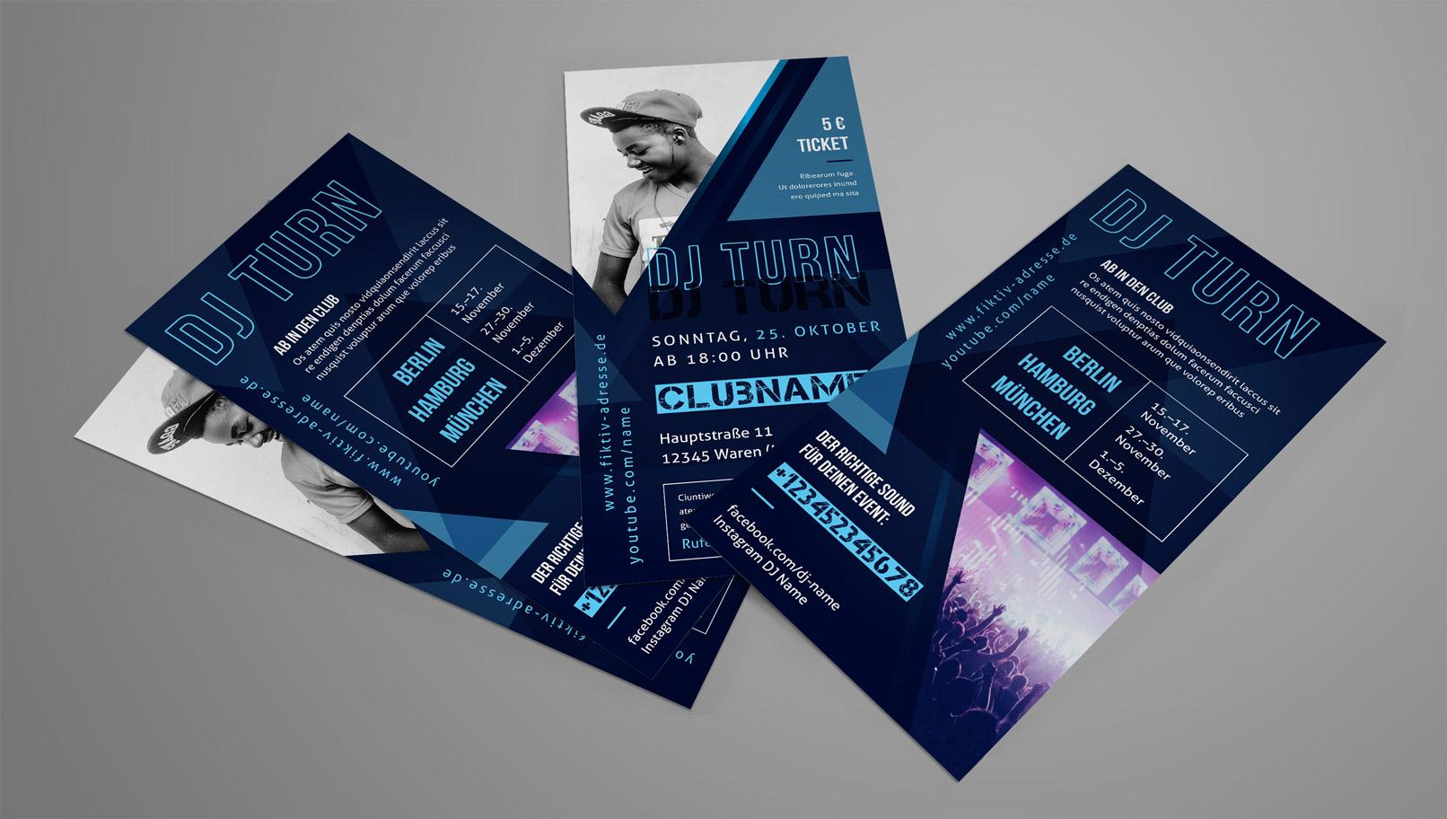 Flyer-Design zur Ankündigung von Auftritten und Tourdaten