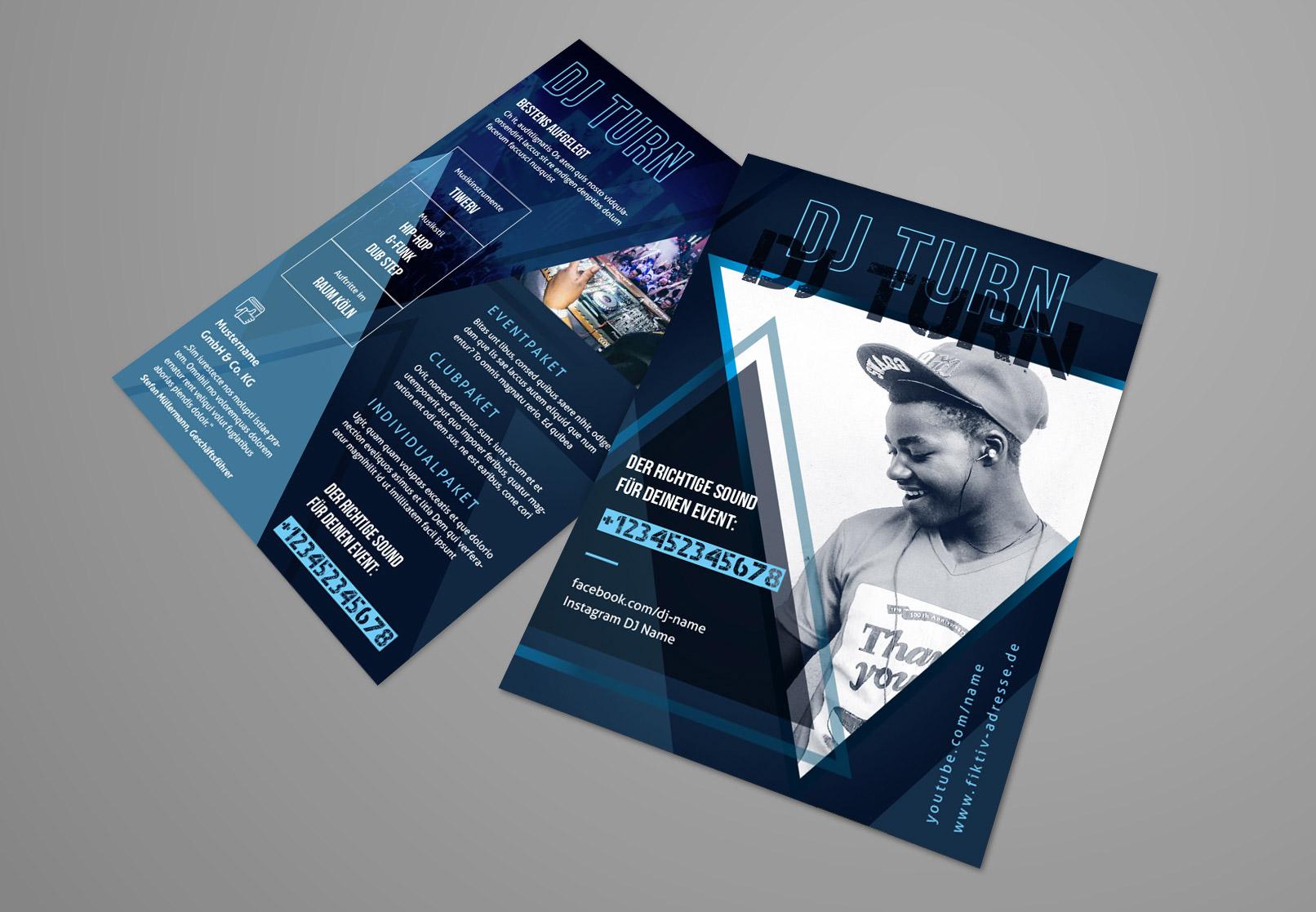 Vorlage zum Gestalten von Künstlerkarten, ausgelegt für DJs