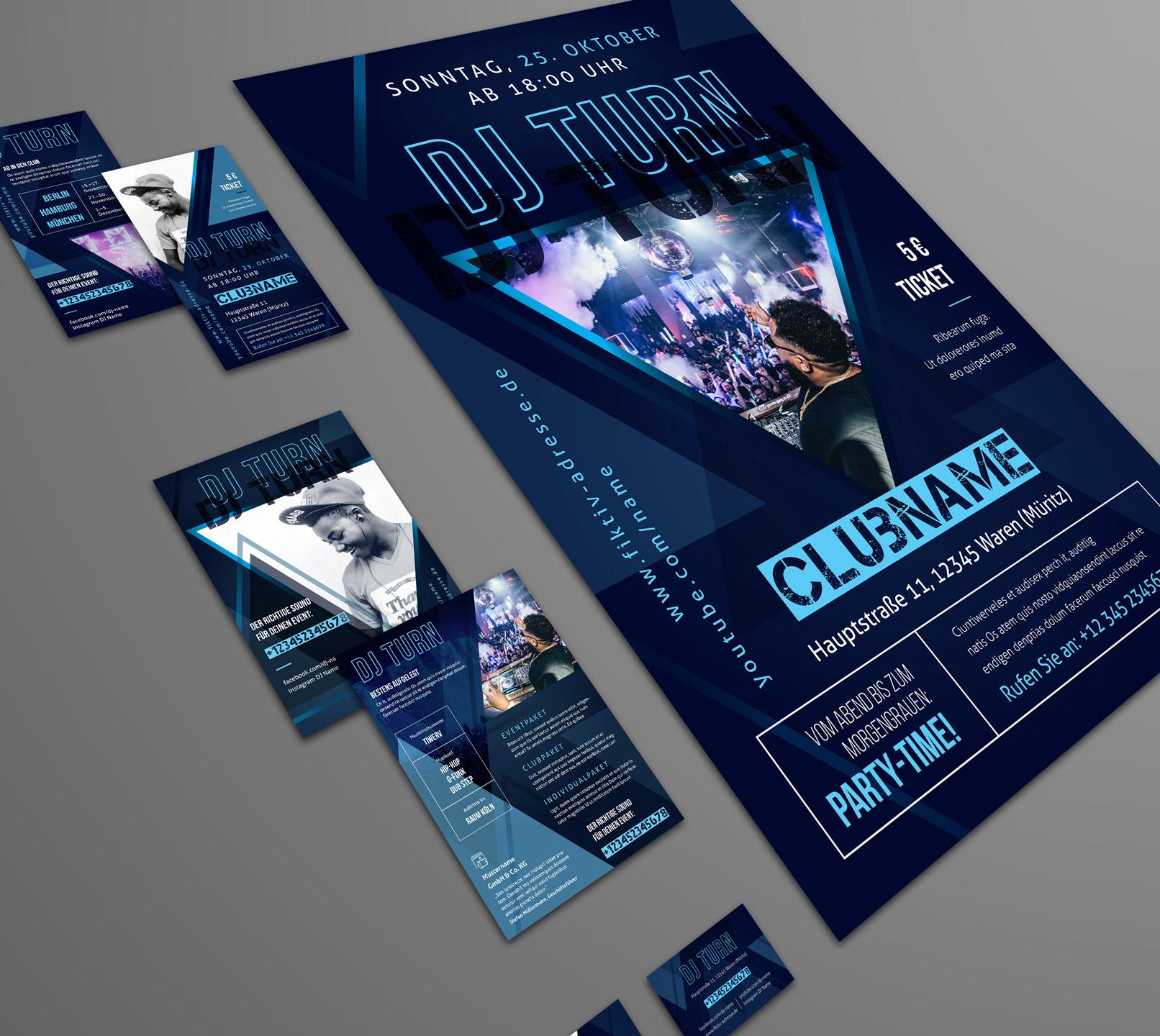 Design-Vorlagen für Musiker und DJs, inklusive CD Cover, Poster und Visitenkarte.