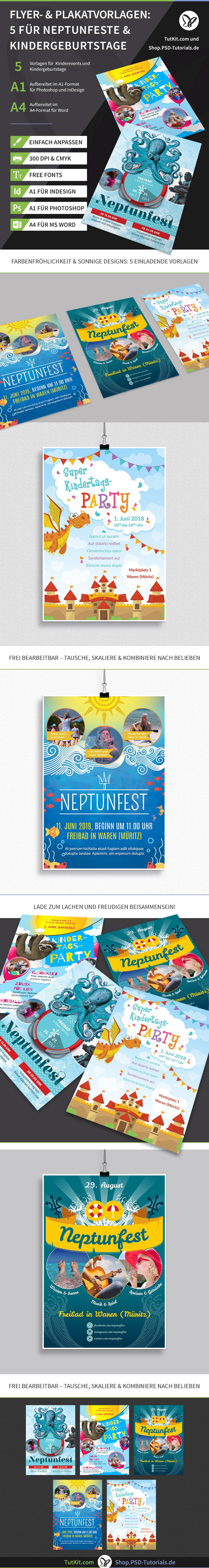 Darstellung der Vorlagen für Plakate und Flyer zum Thema Neptunfest und Kindergeburtstage