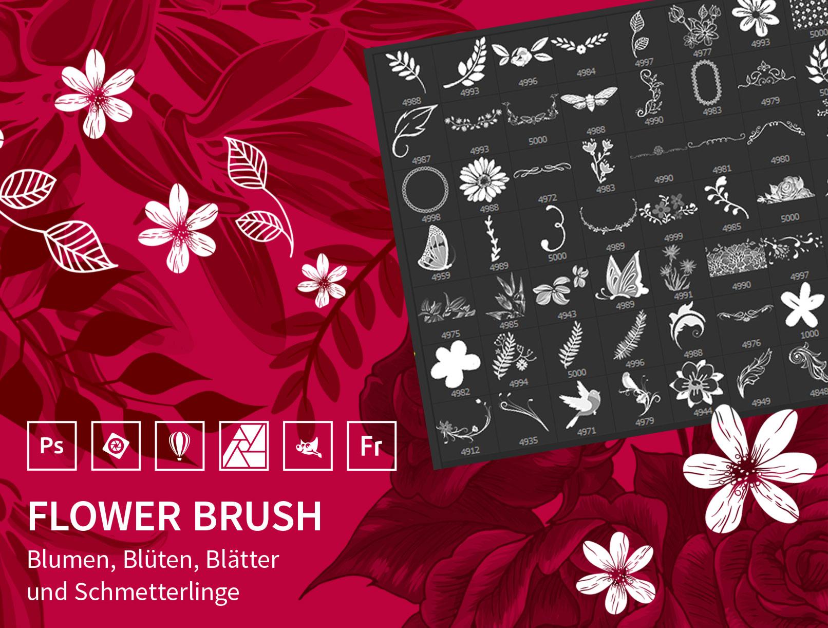100 Pinselspitzen mit floralen Motiven zur Anwendung in Photoshop, Photoshop Elements, GIMP und Affinity Photo