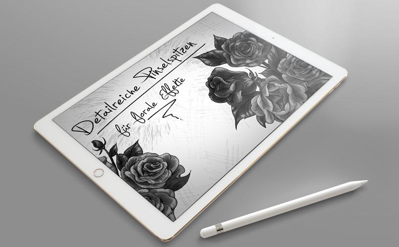 Pinselspitze zur Illustration mit Rosen – gezeigt an einem Beispiel im Sketch-Look. Die floralen Flower Brushes können vielfach eingesetzt werden.