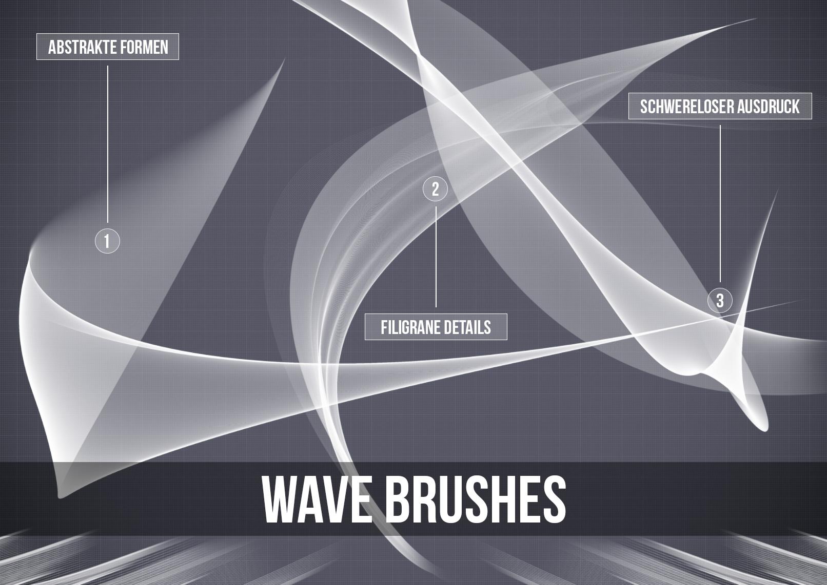 Anwendungsbeispiele für die kunstvollen Pinsel im Wave-Stil. Anschmiegsame Wellen und Wellenformationen für deine künstlerischen Designs