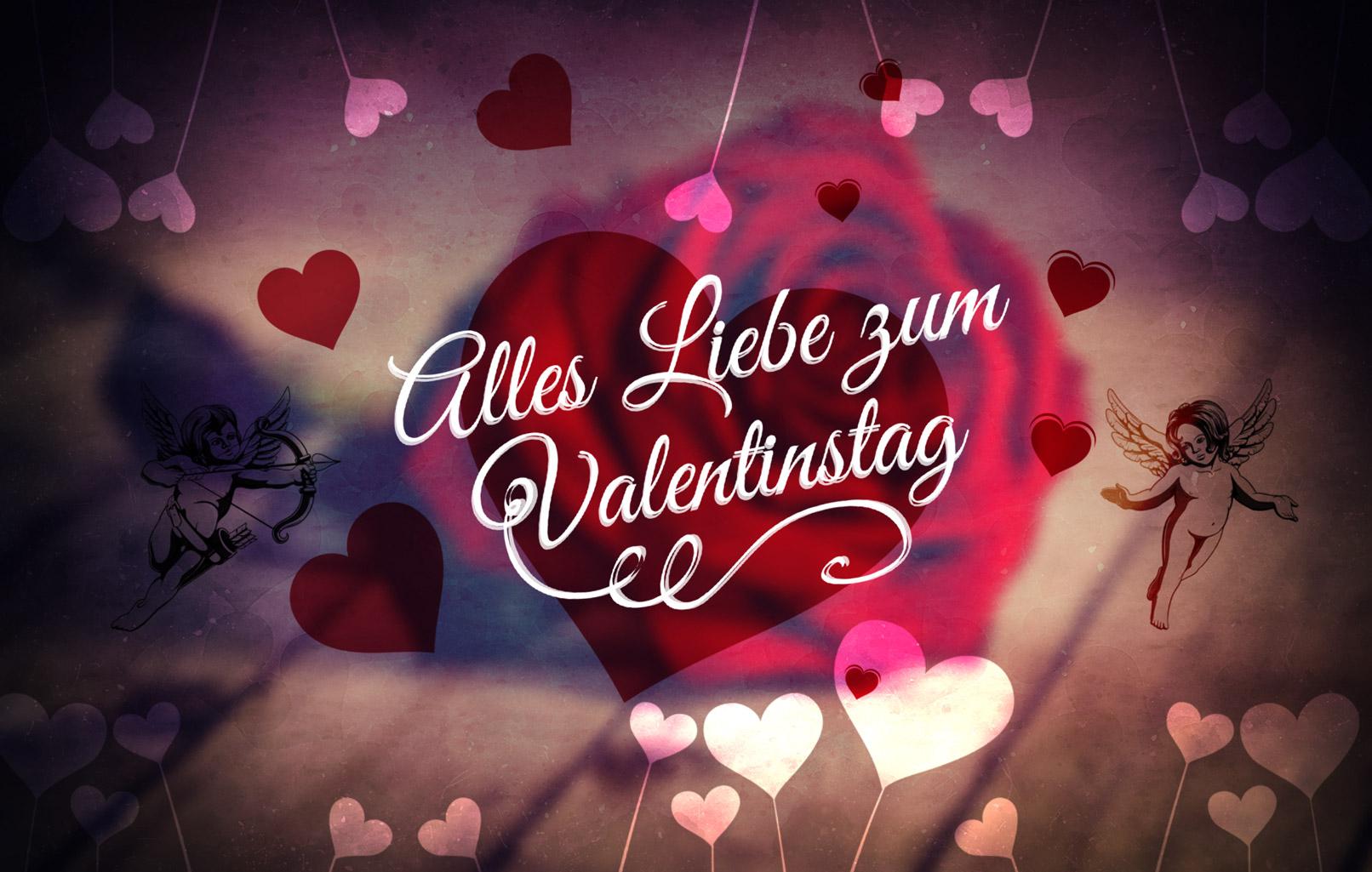 Beispiel zur Anwendung der Pinsel für einen liebevollen Gruß zum Valentinstag.