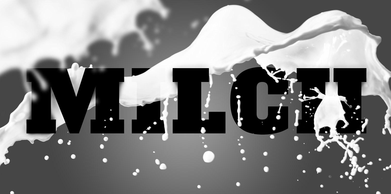 Beispiel zur Anwendung der Pinsel mit dem Schriftzug Milch: Jeder spritzige Splash-Brush hat seinen eigenen Charakter.