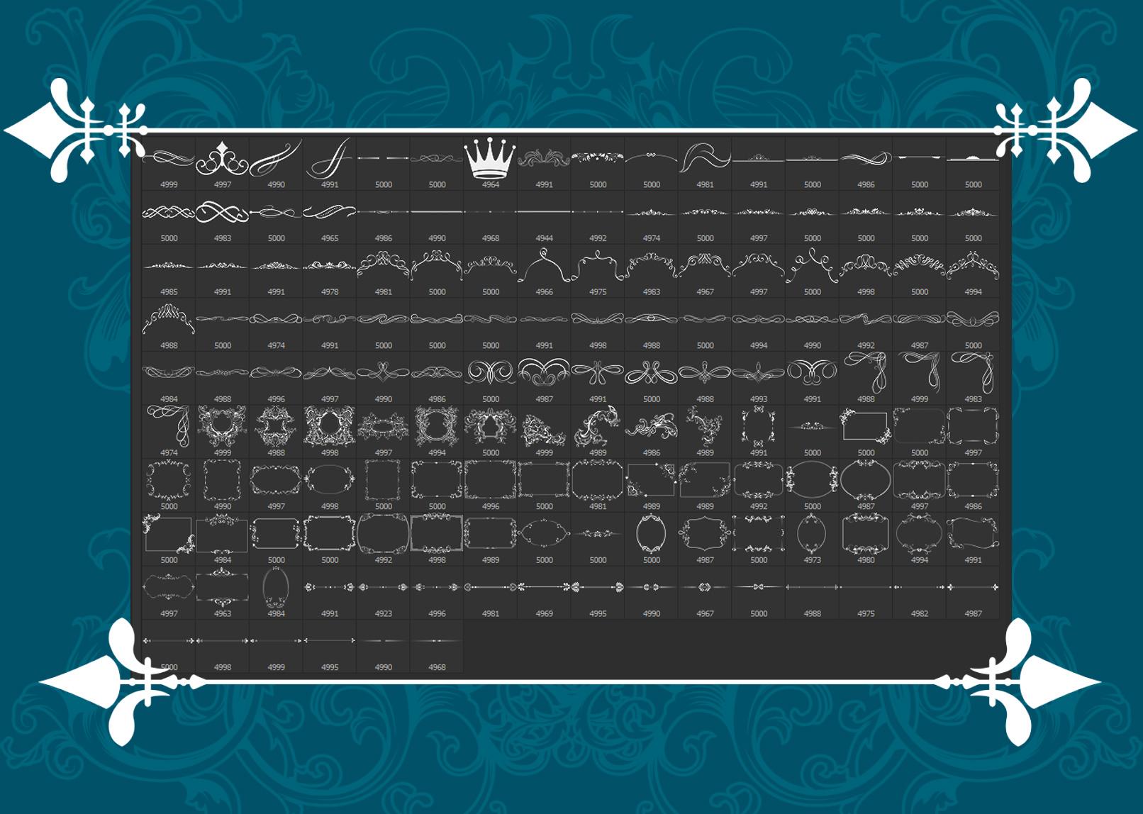Bilderrahmen erstellen und Ornamente zeichnen mit Pinselspitzen – Inhalte des Pinsel-Pakets.