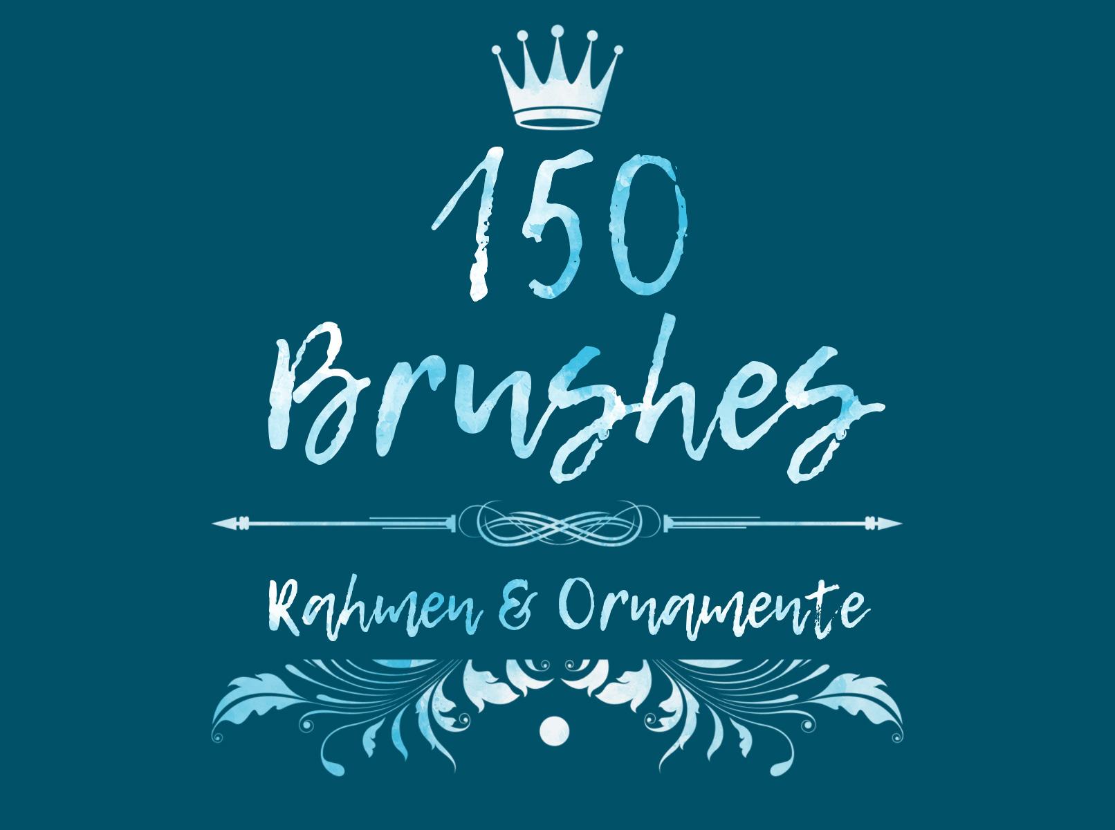 Linien für Verzierungen von Texten. Unsere floralen Vintage Ornamente und Rahmen verzieren deine Designs: 150 Pinsel für Photoshop & Co.