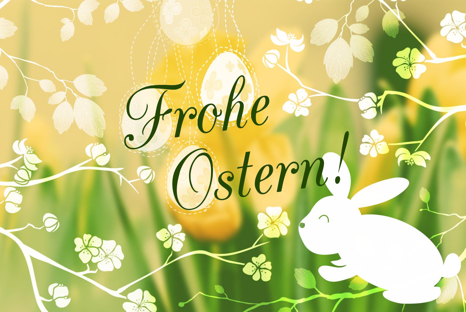 Beispiel zur Anwendung der Oster-Pinsel mit Osterhase und Zweigen auf deinen Designs, Layouts und Ostergrüßen.
