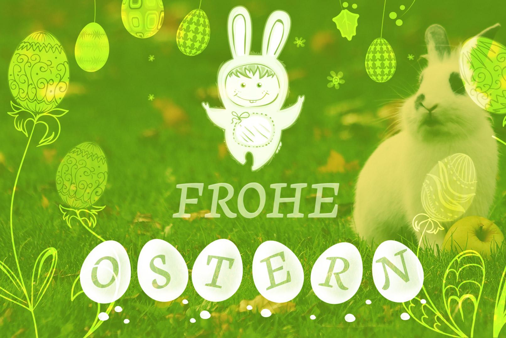 Beispiel für die Pinsel: Osterhase, Ostereier, Frühlingsmotive