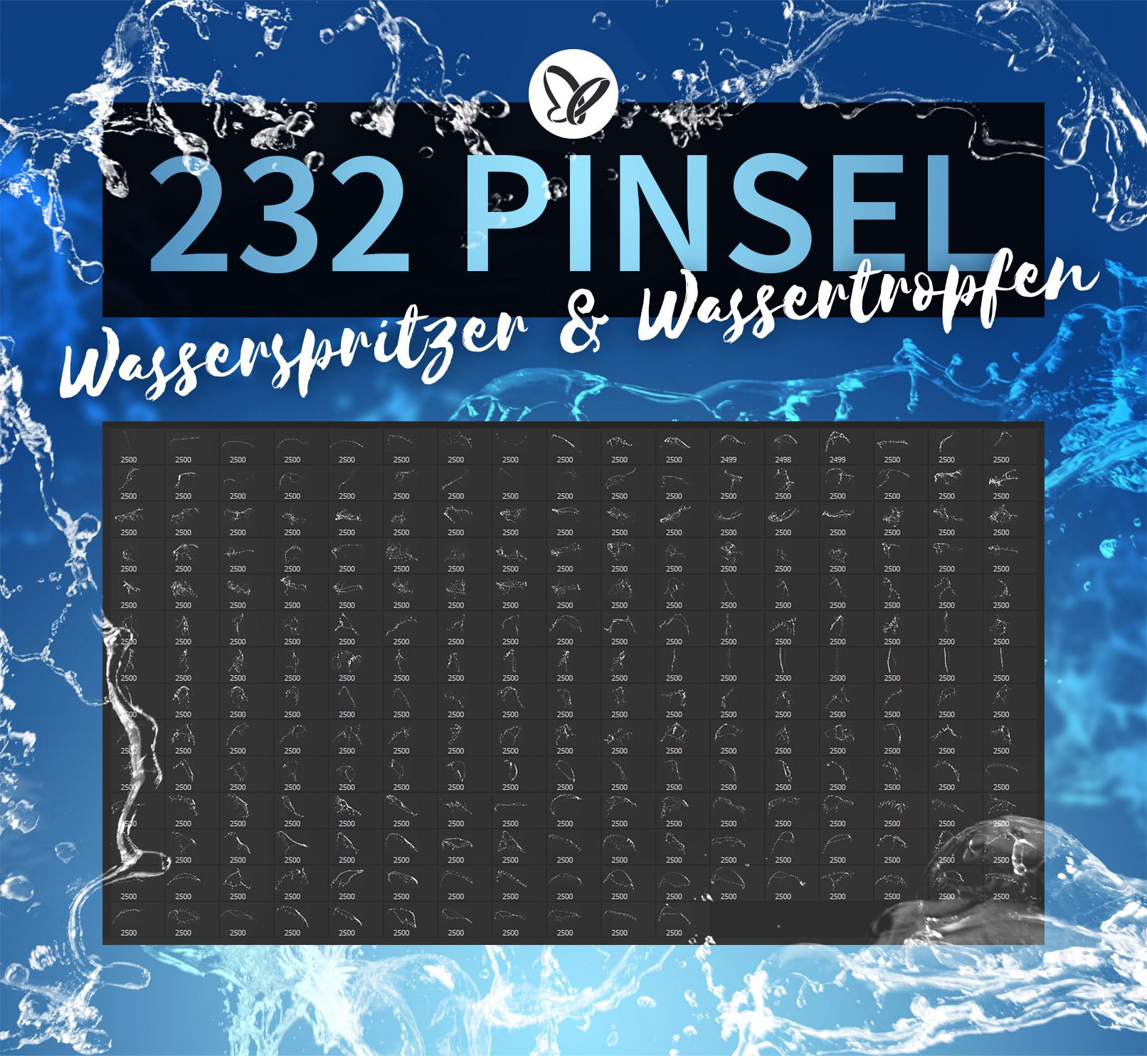 Darstellung der 232 Brushes mit Wasserspritzern und Wassertropfen zur Anwendung in Photoshop, GIMP und Co.