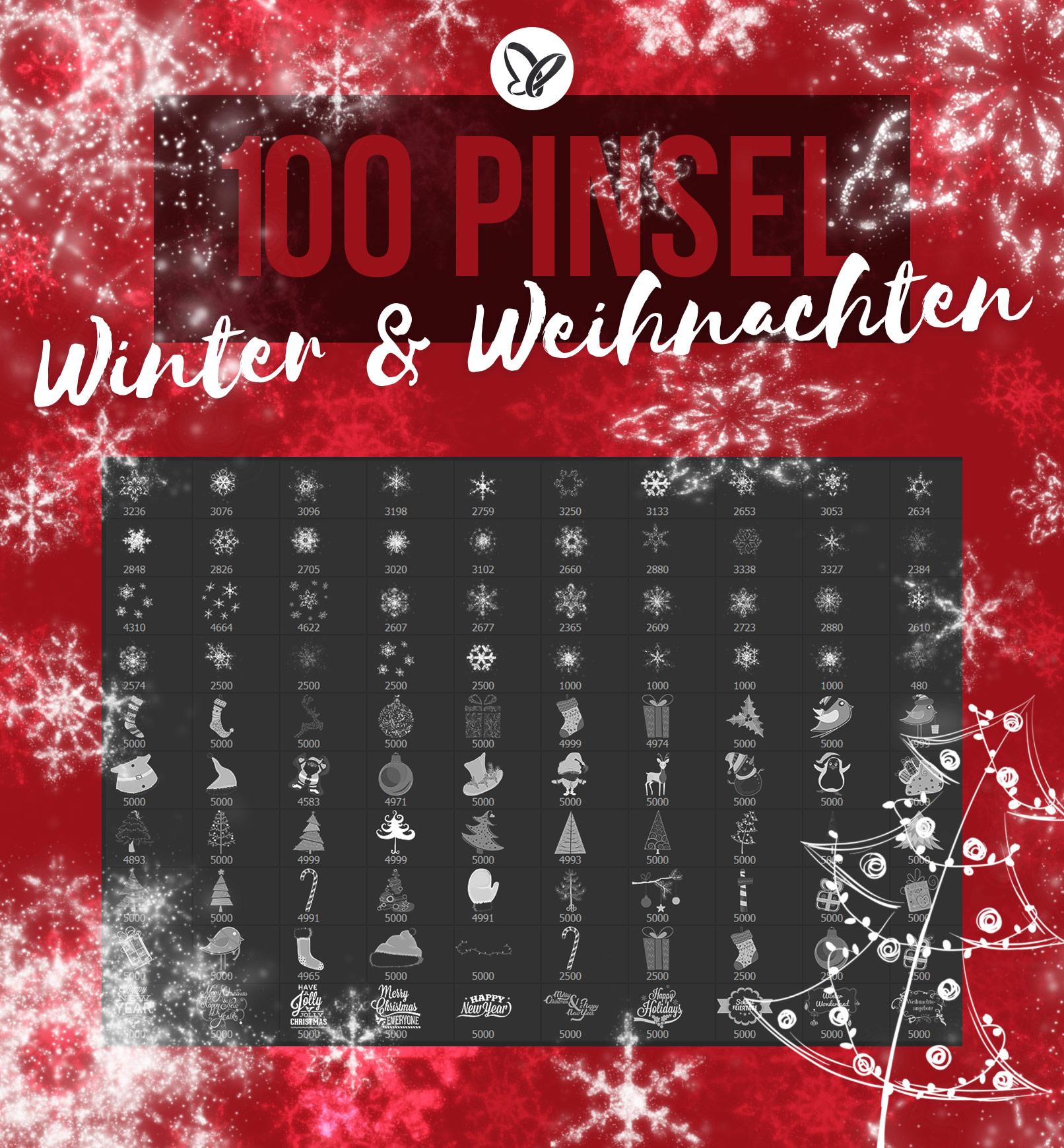 100 Pinselspitzen mit winterlichen, weihnachtlichen Motiven