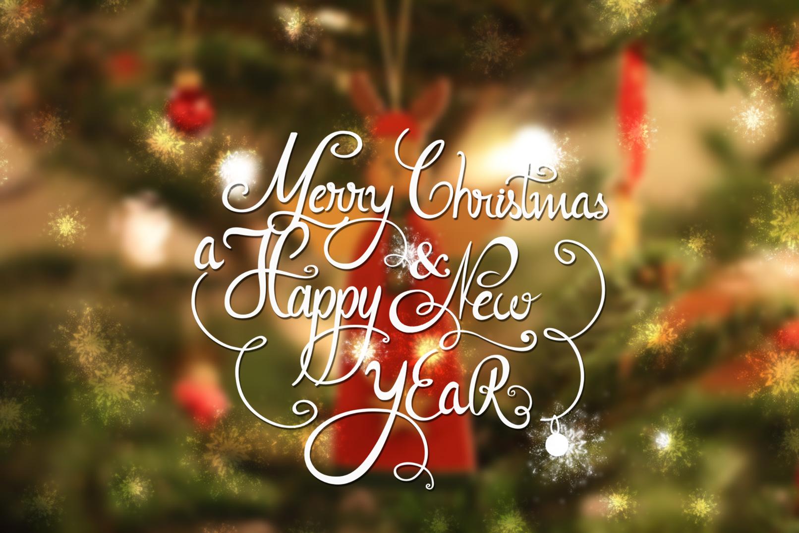 Beispiel zur Anwendung der Pinselspitzen mit Glückwünschen zu Weihnacht und Neujahr