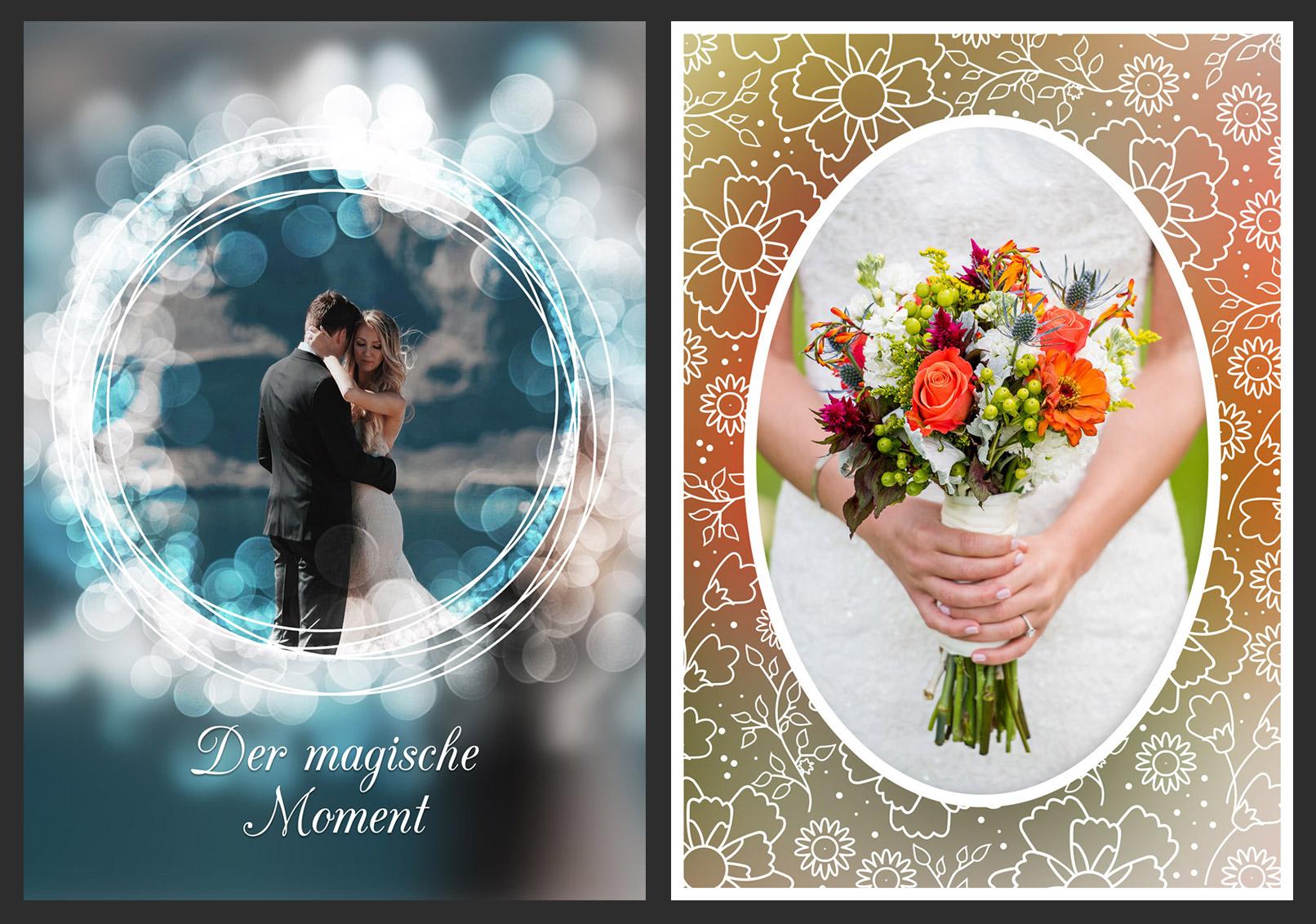 Mit den Photoshop-Aktionen können Hochzeitsfotos in verzierte Bilderrahmen eingearbeitet werden.