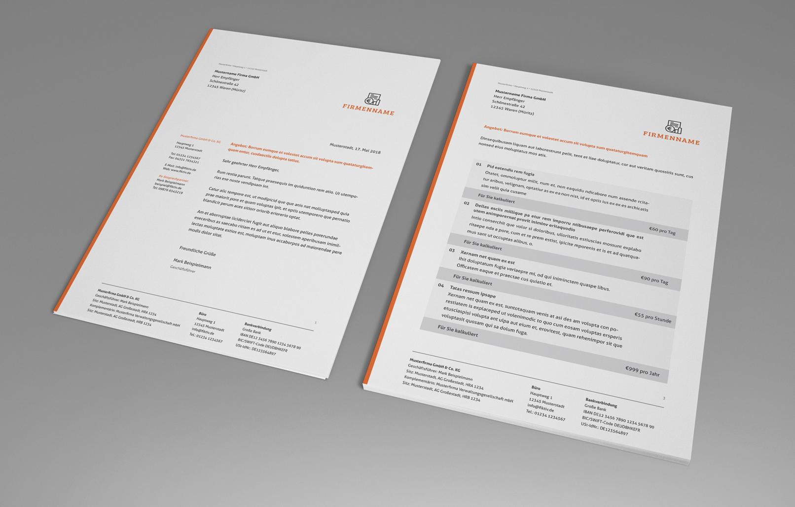 Rechnungsvorlagen als Download