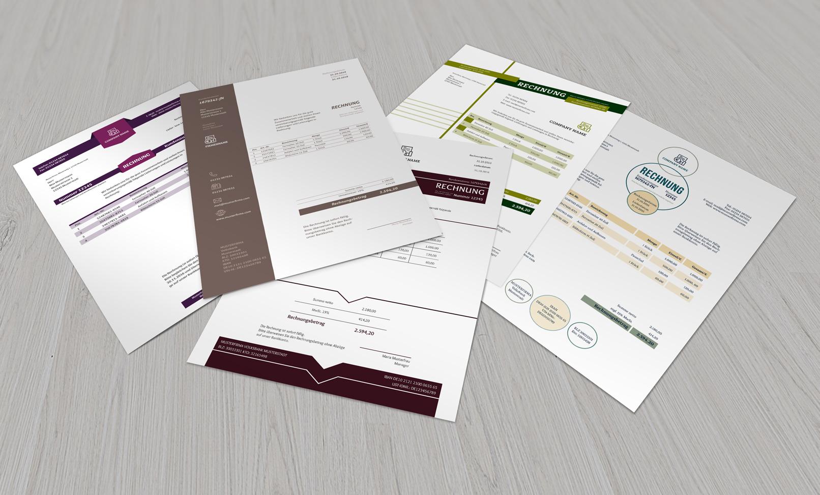 Muster für Rechnungen, Lieferscheine und Angebote, die in dem Paket enthalten sind.