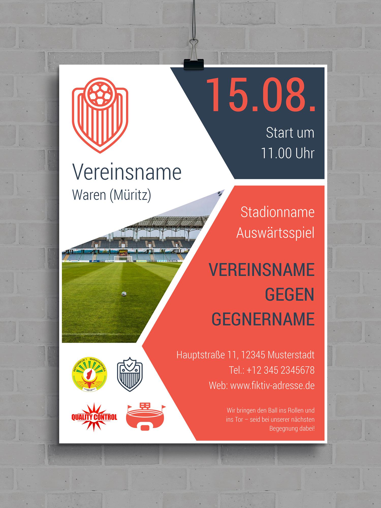 Vorlage für einen Flyer oder ein Fußball-Plakat zur Ankündigung von Spielen, anpassbar auf andere Sportarten.